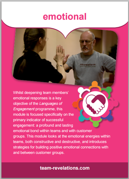 Whilst deepening team members' emotional responses is a key objective of the Languages of Engagement programme, this module is focused specifically on the primary indicator of successful engagement: a profound and lasting emotional bond within teams and with customer groups. This module looks at the emotional energies within teams, both constructive and destructive, and introduces strategies for building positive emotional connections with and between customer groups.