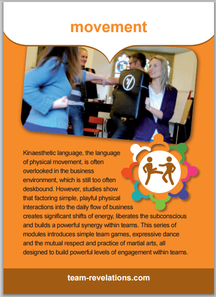 Kinaesthetic language, the language of physical movement, is often overlooked in the business environment, which is still too often deskbound. However, studies show that factoring simple, playful physical interactions into the daily flow of business creates significant shifts of energy, liberates the subconscious and builds a powerful synergy within teams. This series of modules introduces simple team games, expressive dance and the mutual respect and practice of martial arts, all designed to build powerful levels of engagement within teams.